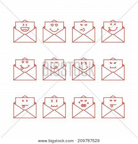 thin line emoji set messages in letters. concept of mailbox, simple chat, foodie yum, humor, sad, satisfy, hate, bored, anger, dead on white background
