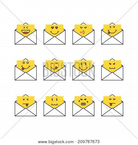 set of thin line emoji messages letters. concept of mailbox, simple chat, foodie yum, humor, sad, satisfy, hate, bored, anger, dead on white background