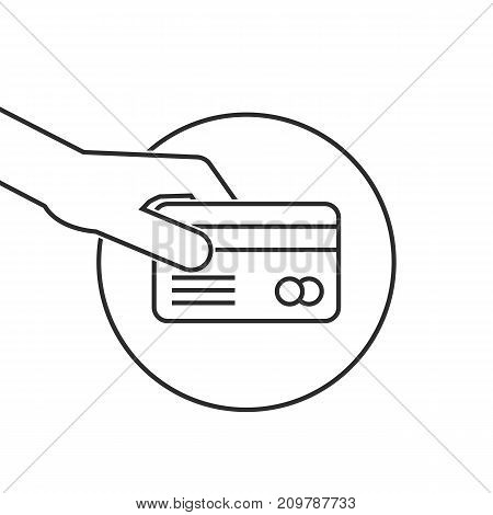 thin line hand holding credit card on white background
