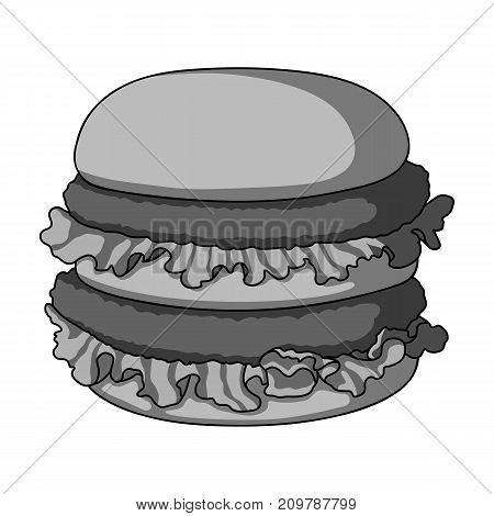 Hamburger, single icon in monochrome style.Hamburger vector symbol stock illustration .