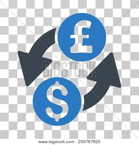 Dollar Pound Exchange icon. Vector illustration style is flat iconic bicolor symbol, smooth blue colors, transparent background. Designed for web and software interfaces.