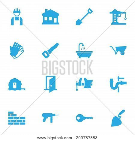 Collection Of Brick Wall, Clamp, Gauntlet And Other Elements.  Set Of 16 Construction Icons Set.