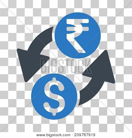 Dollar Rupee Exchange icon. Vector illustration style is flat iconic bicolor symbol, smooth blue colors, transparent background. Designed for web and software interfaces.