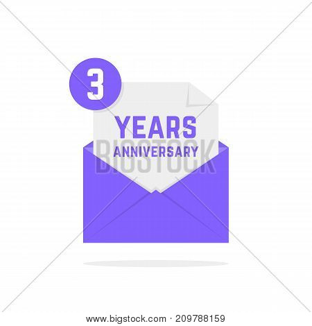 3 years anniversary icon in lilac letter. concept of festive text, inbox, fun, notice, memorial, certificate, success, email, sms. flat style modern logotype graphic poster design on white background
