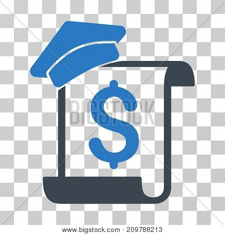 Education Invoice icon. Vector illustration style is flat iconic bicolor symbol, smooth blue colors, transparent background. Designed for web and software interfaces.