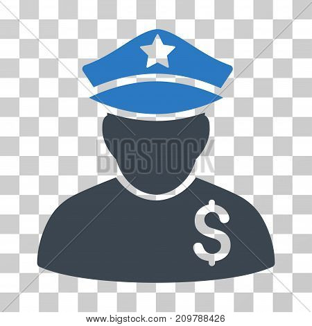 Financial Policeman icon. Vector illustration style is flat iconic bicolor symbol, smooth blue colors, transparent background. Designed for web and software interfaces.
