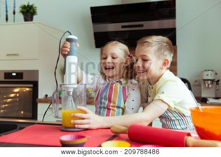 Portrait Of Two Happy And Cute Little Children Which Having Fun During Preparing Muffins With Blende