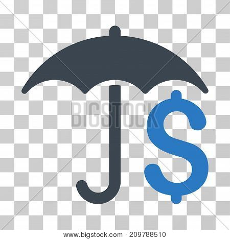 Financial Umbrella icon. Vector illustration style is flat iconic bicolor symbol, smooth blue colors, transparent background. Designed for web and software interfaces.