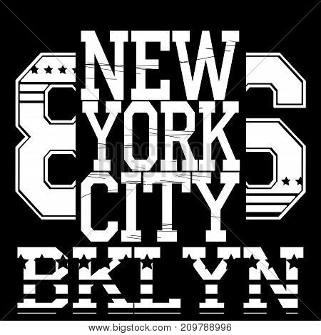 New york  typography fashion sport, t-shirt graphics - vector