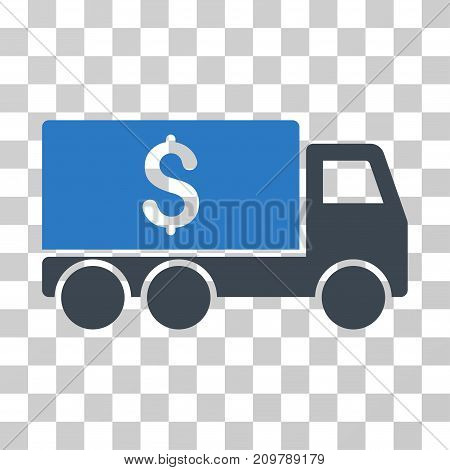 Money Delivery icon. Vector illustration style is flat iconic bicolor symbol, smooth blue colors, transparent background. Designed for web and software interfaces.