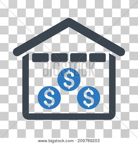 Money Depository icon. Vector illustration style is flat iconic bicolor symbol, smooth blue colors, transparent background. Designed for web and software interfaces.