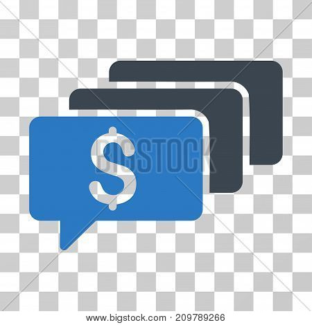 Money Messages icon. Vector illustration style is flat iconic bicolor symbol, smooth blue colors, transparent background. Designed for web and software interfaces.
