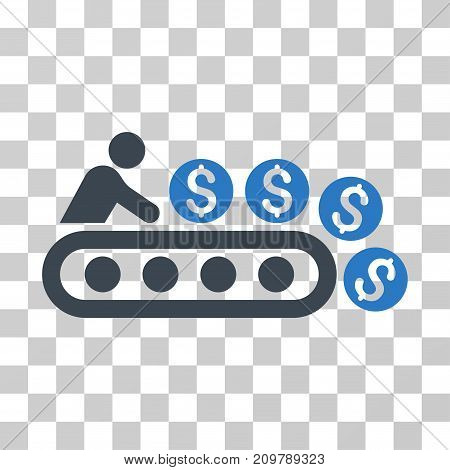 Money Production icon. Vector illustration style is flat iconic bicolor symbol, smooth blue colors, transparent background. Designed for web and software interfaces.
