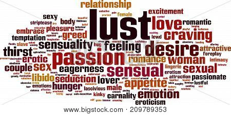 Lust word cloud concept. Vector illustration on white