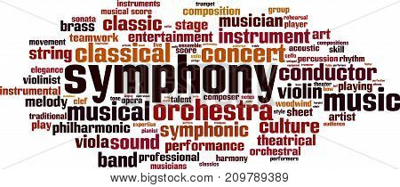 Symphony word cloud concept. Vector illustration on white