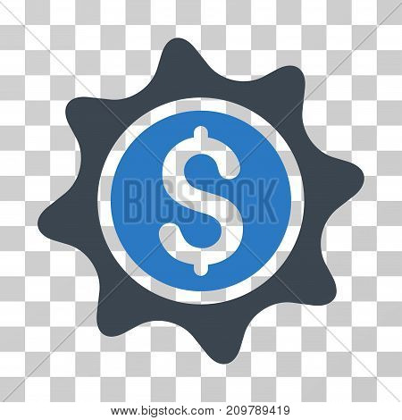 Money Sticker icon. Vector illustration style is flat iconic bicolor symbol, smooth blue colors, transparent background. Designed for web and software interfaces.