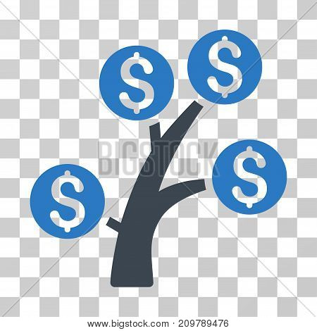 Money Tree icon. Vector illustration style is flat iconic bicolor symbol, smooth blue colors, transparent background. Designed for web and software interfaces.