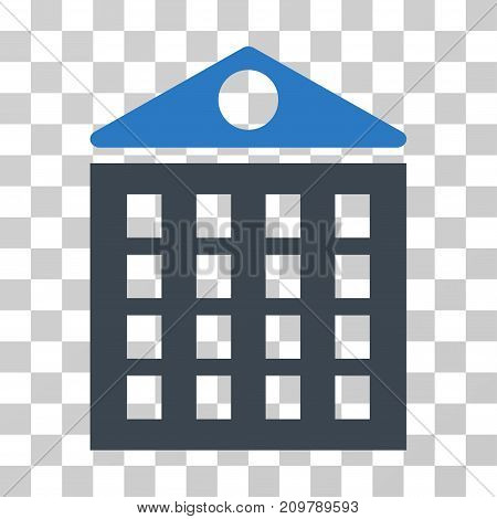 Multi-Storey House icon. Vector illustration style is flat iconic bicolor symbol, smooth blue colors, transparent background. Designed for web and software interfaces.