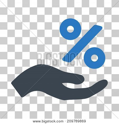Percent Offer Hand icon. Vector illustration style is flat iconic bicolor symbol, smooth blue colors, transparent background. Designed for web and software interfaces.