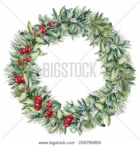 Watercolor winter floral wreath with white and red berries. Hand painted christmas tree and snowberry branch isolated on white background. Christmas botanical frame for design or print. Holiday plant