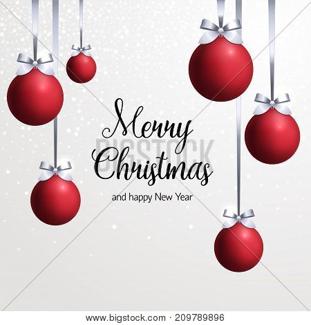 Red Christmas balls with silver ribbon with bow on white background with snowflakes Template of postcard with the inscription Merry Christmas and Happy new year