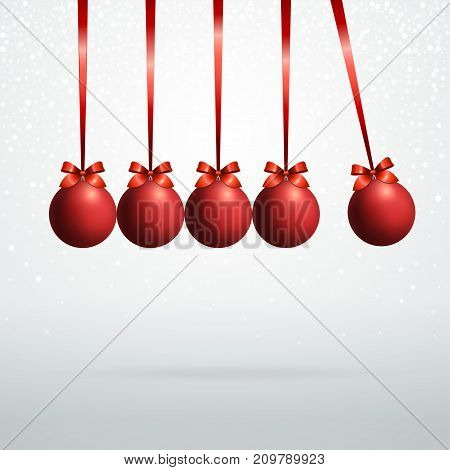 Five red Christmas balls with silver ribbon with bow are hanging in a row on white background Template for postcard, banner, poster
