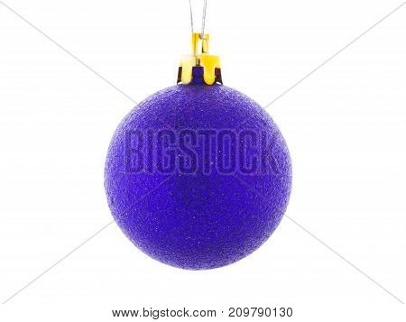 A beautiful blue shiny ball for Christmas tree isolated on a white background. New Year decoration for the house and pine. Holidays concept.