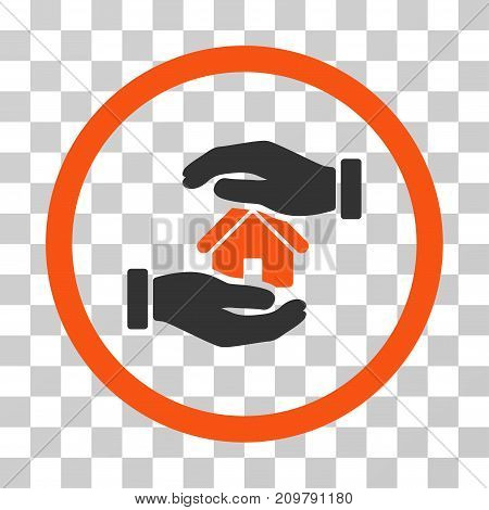 Realty Insurance Hands icon. Vector illustration style is flat iconic bicolor symbol, orange and gray colors, transparent background. Designed for web and software interfaces.