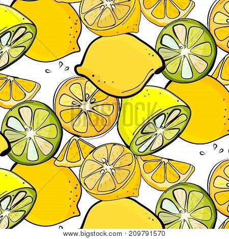 Vector organic lemon graphic. Fresh slice citrus juice illustration. Food organic texture. Nature pattern with lime slices. Hand drawn fruit