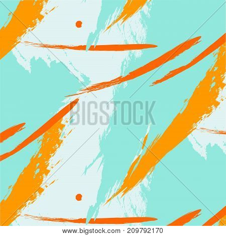 Vector trendy contrast fantasy freehand composition with mint orange brush stroke pattern.Speed style dynamic art. Modern stain grunge background