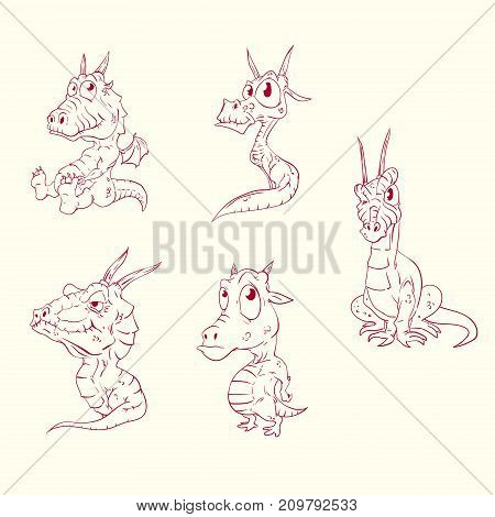 Collection of line drawing vector illustrations of baby dragons
