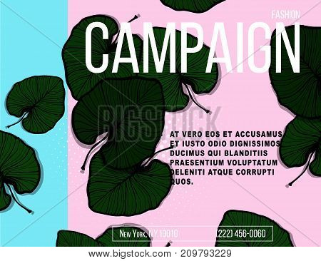 Vector nature banner. Tropical vibes poster with green palm leaves and quote.Foliage exotic summer flyer concept. Modern jungle advertising print. Trendy 2018 holiday season lettering drawing