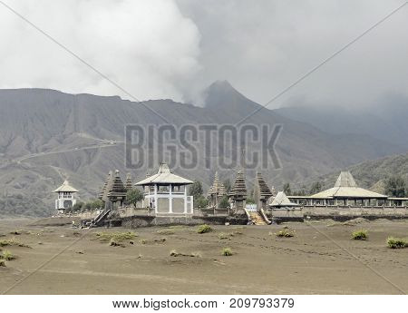 temple at the Bromo Tengger Semeru National Park in Java a island of Indonesia