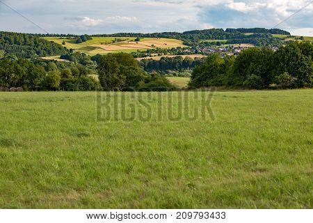 Beautiful landscape in hessen germany in summer