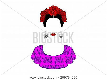 Portrait of the young beautiful mexican woman with a traditional hairstyle. Mexican crafts earrings, crown red flowers, Traditional Mexican Catrina, death's day. Vector isolated