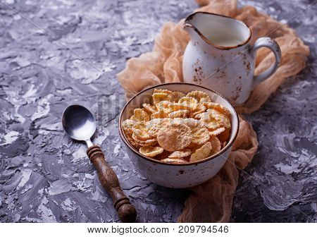 Corn flake and milk . Healthy breakfast. Selective focus