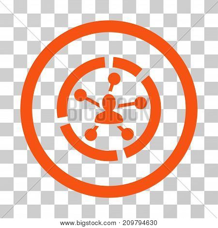 Relations Diagram icon. Vector illustration style is flat iconic symbol, orange color, transparent background. Designed for web and software interfaces.