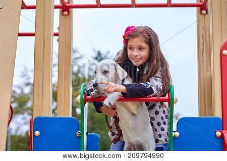 Funny doggie walking with owner on the playground. Pet with girl outdoors on a natural background. Close-up of dog and girl. Animal concept.
