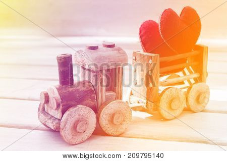 Valentines day background abstract symbol. Two heart in toy train. Concept of love