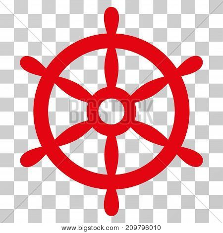 Boat Steering Wheel icon. Vector illustration style is flat iconic symbol, red color, transparent background. Designed for web and software interfaces.