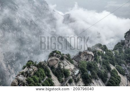 Hua Shan mountain is a sacred Taoist mountain located in Shaanxi province in northern China.