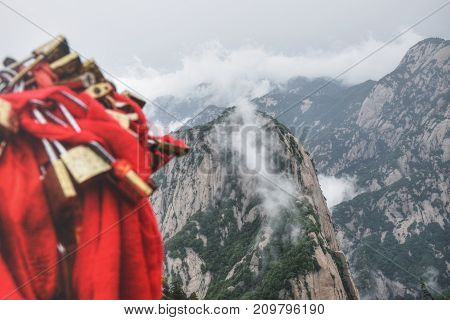Hua Shan mountain in Shaanxi province in China is one of the five holy Taoist mountains of China