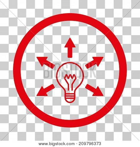 Idea Bulb icon. Vector illustration style is flat iconic symbol, red color, transparent background. Designed for web and software interfaces.
