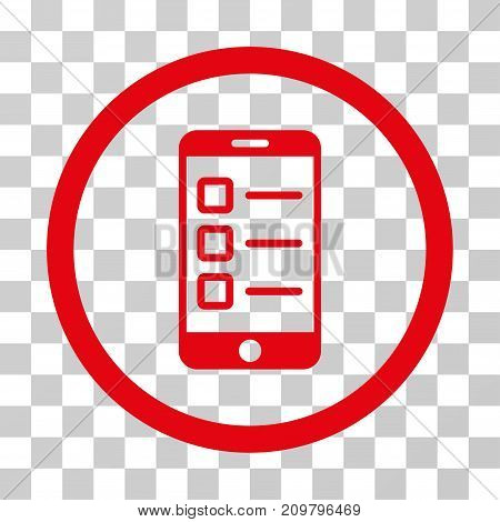 Mobile Test icon. Vector illustration style is flat iconic symbol, red color, transparent background. Designed for web and software interfaces.