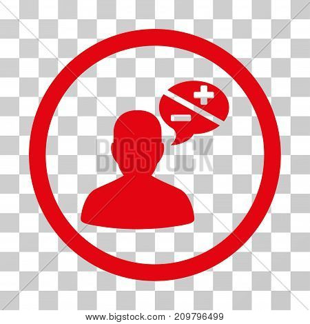 Person Arguments icon. Vector illustration style is flat iconic symbol, red color, transparent background. Designed for web and software interfaces.