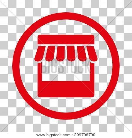 Store icon. Vector illustration style is flat iconic symbol, red color, transparent background. Designed for web and software interfaces.