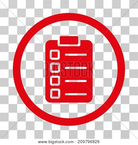 Test Task icon. Vector illustration style is flat iconic symbol, red color, transparent background. Designed for web and software interfaces.