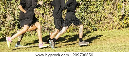 A boys high school cross country team running in a group on the grass wearing black uniforms on a sunny day.