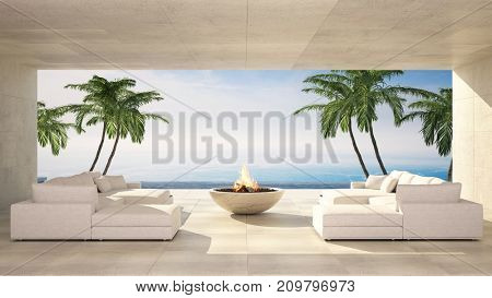 Luxurious waterfront tiled terrace with two empty comfortable white sofas and a fire pit against sea in an idyllic summer tropical destination. 3d rendering
