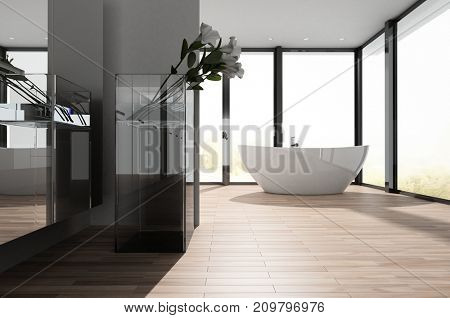 Large spacious modern bathroom with a freestanding oval bathtub in front of wrap around view windows and a wooden floor. 3d rendering